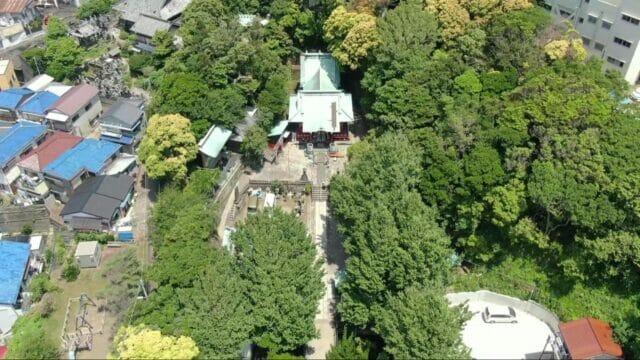 海南神社の上からの写真