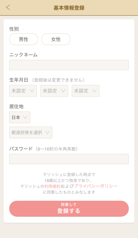 マリッシュ基本情報登録画面