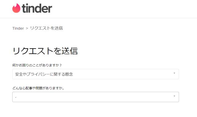 Tinderのカスタマーサポート「リクエストを送信」画面